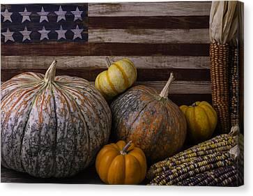 Squash Canvas Print - American Flag Autumn Still Life by Garry Gay
