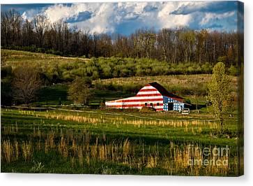 American Flag Barn Canvas Print by Amy Cicconi