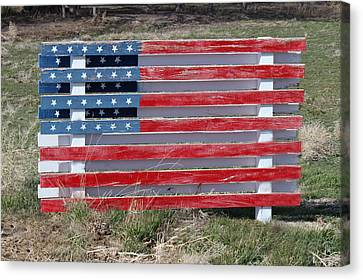Canvas Print featuring the photograph American Flag Country Style by Sylvia Thornton
