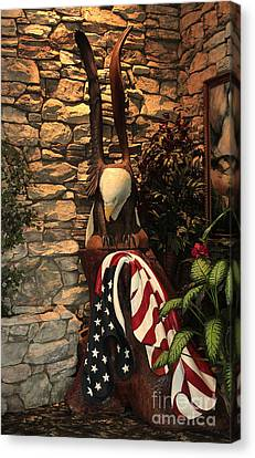 Canvas Print featuring the photograph American Flag And Eagle Wood Carving by Marjorie Imbeau