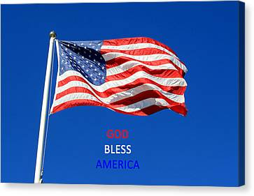 Canvas Print featuring the photograph American Flag - God Bless America by Barbara West