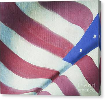 American Flag Grungy Vintage Oil Painting Canvas Print by Christina Rahm
