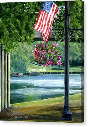 American Flag In Natchitoches Louisiana Canvas Print by Lenora  De Lude