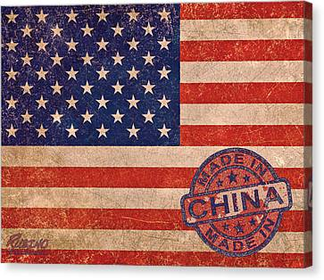 American Flag Made In China Canvas Print by Tony Rubino