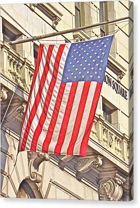Canvas Print featuring the photograph American Flag N.y.c 1 by Joan Reese