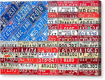 American Flag Recycled License Plate Art Canvas Print