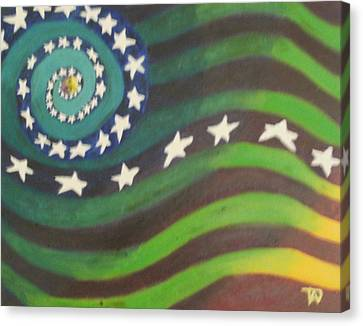 Canvas Print featuring the painting American Flag Reprise by Thomasina Durkay