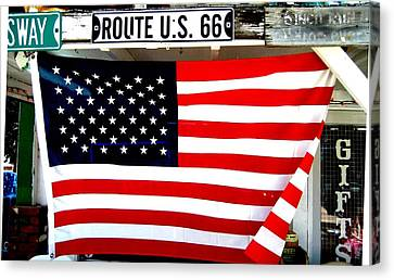 American Flag Route 66 Canvas Print