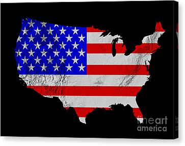 American Flag Seen On Us Shaded Digital-relief Map Canvas Print by Usgs