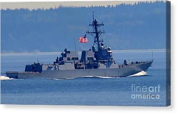 American Flag Ship Canvas Print