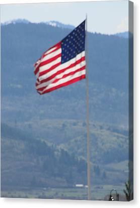American Flag Star Valley Canvas Print by Shawn Hughes