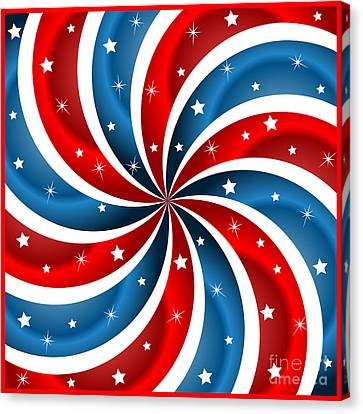 American Flag Stars And Swirly Stripes Canvas Print by Toots Hallam