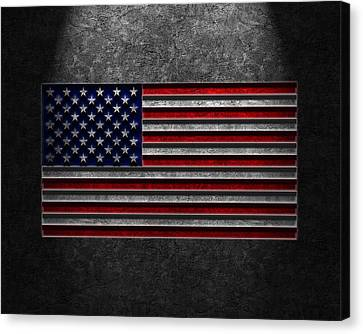 Canvas Print featuring the digital art American Flag Stone Texture by Brian Carson