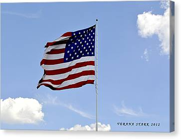 Canvas Print featuring the photograph American Flag by Verana Stark