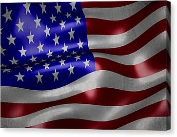 American Flag Waving On Canvas Canvas Print by Eti Reid