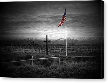 American Flag With Cross Canvas Print