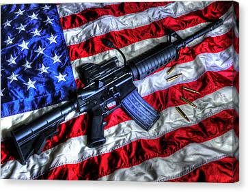 American Flag With Rifle Canvas Print