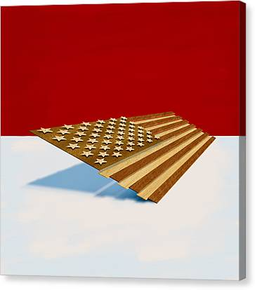 American Flag Wood Canvas Print