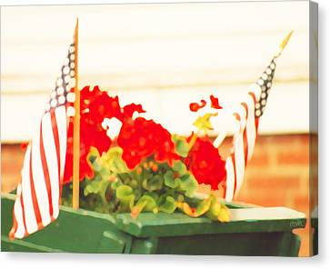 American Flags And Geraniums In A Wheelbarrow One Canvas Print by Marian Cates