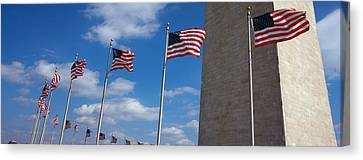 American Flags In Front Of An Obelisk Canvas Print