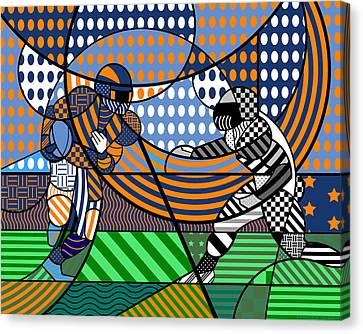 Canvas Print featuring the digital art American Football - Broncos by Randall Henrie