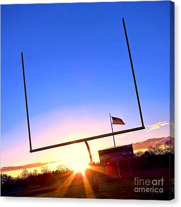 American Football Goal Posts Canvas Print by Olivier Le Queinec