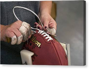 American Football Manufacturing Canvas Print by Jim West