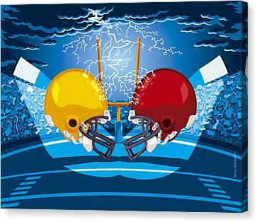American Football Stadium Helmet Lightning Canvas Print by Frank Ramspott