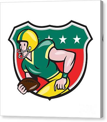 American Football Wide Receiver Running Ball Shield Canvas Print by Aloysius Patrimonio