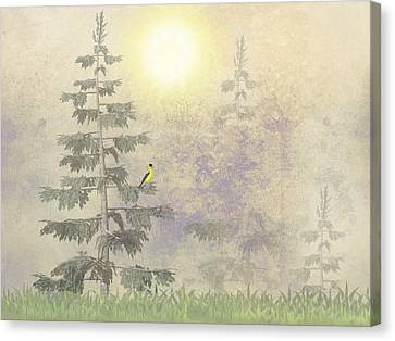 Canvas Print featuring the digital art American Goldfinch Morning Mist  by David Dehner