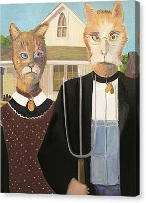American Gothic Cat Canvas Print by G Kitty Hansen