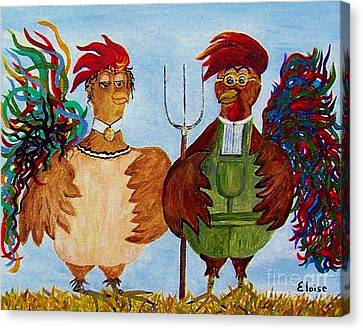 Canvas Print featuring the painting American Gothic Down On The Farm - A Parody by Eloise Schneider