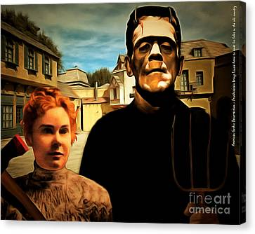 American Gothic Resurrection Frank Brings Lizzie Home To Meet His Folks In The Old Country With Text Canvas Print by Wingsdomain Art and Photography