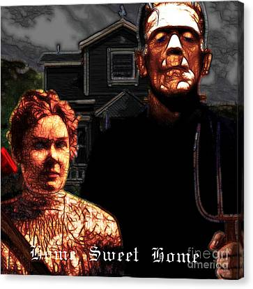 American Gothic Resurrection Home Sweet Home 20130715 Square Canvas Print by Wingsdomain Art and Photography