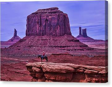 American Indian At Over Look Canvas Print by Garry Gay