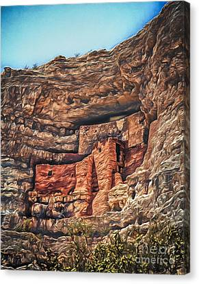 American Indian Cliff Dwelling  ... Canvas Print by Chuck Caramella