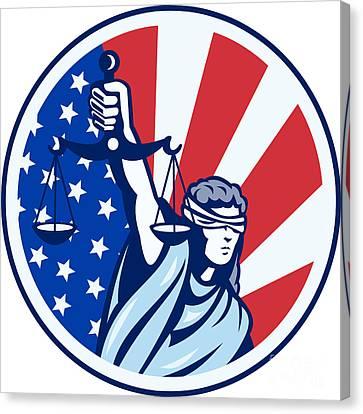 American Lady Holding Scales Of Justice Flag Retro Canvas Print by Aloysius Patrimonio