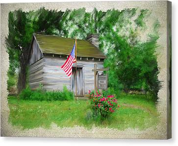 American Log Cabin Canvas Print by Mary Timman