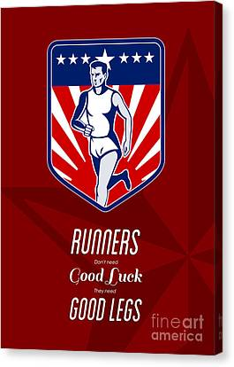 American Marathon Runner Good Legs Poster Canvas Print by Aloysius Patrimonio