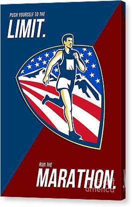 American Marathon Runner Push Limits Retro Poster Canvas Print