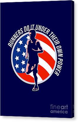 American Marathon Runner Running Power Retro Canvas Print