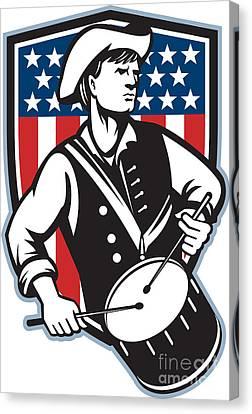 American Patriot Drummer With Flag Canvas Print by Aloysius Patrimonio