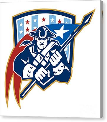 American Patriot Holding Brandish Flag Crest Canvas Print by Aloysius Patrimonio