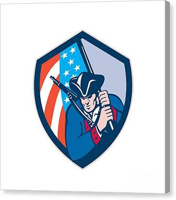 American Patriot Holding Brandish Flag Shield Retro Canvas Print by Aloysius Patrimonio