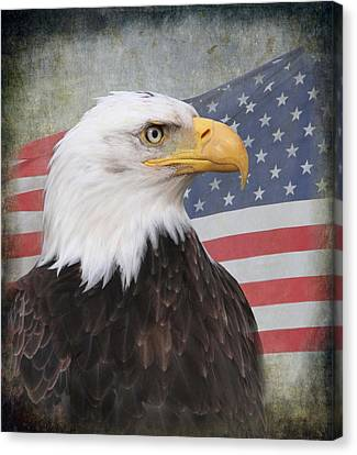 Eagle And Flag Canvas Print - American Pride by Angie Vogel