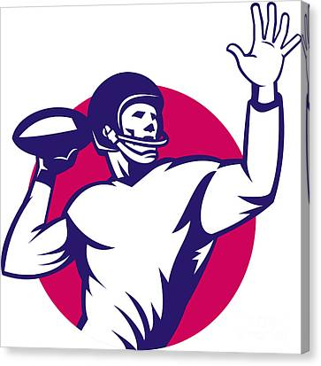 American Quarterback Football Player Pass Canvas Print by Aloysius Patrimonio