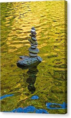 Canvas Print featuring the photograph American River Rock Art by Sherri Meyer