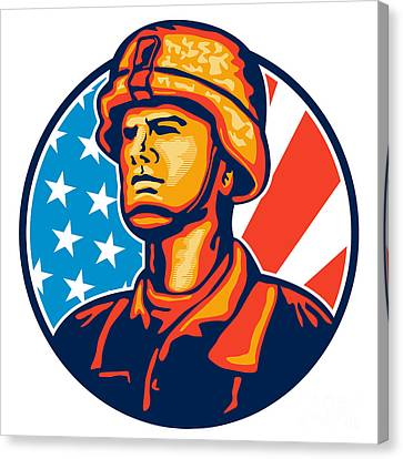 American Serviceman Soldier Flag Retro Canvas Print