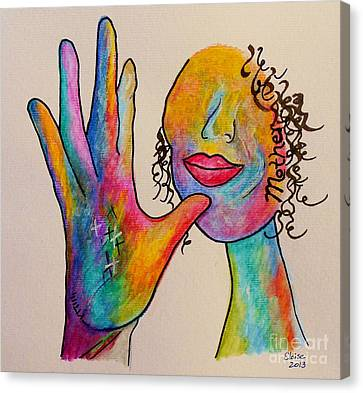 Shower Canvas Print - American Sign Language . . .  Mother by Eloise Schneider