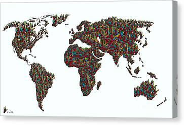 American Sign Language ... I Love You World Map  Canvas Print by Eloise Schneider
